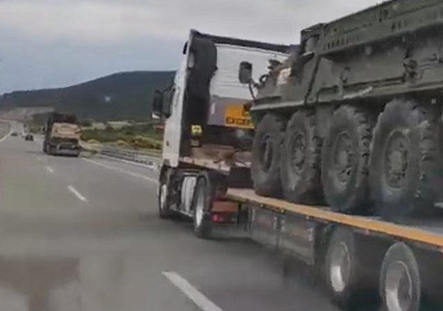 Κομβόι με τεθωρακισμένα του στρατού των ΗΠΑ έξω από την Θεσσαλονίκη