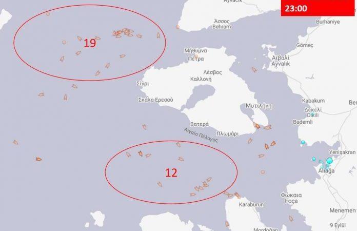 """Ο τουρκικός στόλος αποχωρεί αλλά όχι και τα τουρκικά αλιευτικά! 31 δυτικά Λέσβου-Χίου σε """"πρόβα συνεκμετάλλευσης"""""""