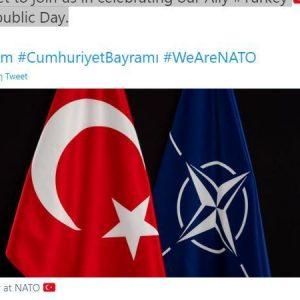 Προκαλεί το ΝΑΤΟ μετά τον διπλό αποκεφαλισμό στη Νίκαια με προσωπική εντολή Ερντογάν. Προμοτάρει την Ημέρα Δημοκρατίας στην Τουρκία..
