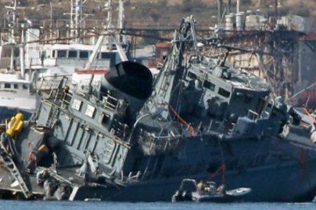 Φωτογραφία -ντοκουμέντο: Η στιγμή που το Maersk Launceston έχει κόψει στα δύο το Ν/Θ Μ63 «Καλλιστώ»