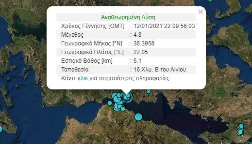 Ισχυροί μετασεισμοί μετά το χθεσινό σεισμό 4,8R στη Ναύπακτο.
