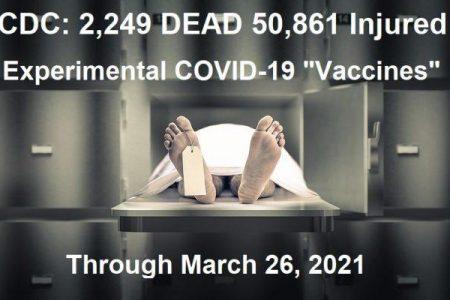 ΗΠΑ – CDC: 2.509 Θάνατοι μετά τον εμβολιασμό με τα πειραματικά «Εμβόλια». Μέσα σε 3 μήνες, έχουν πεθάνει τόσοι, όσοι πέθαναν συνολικά τη τελευταία δεκαετία, μετα από χρήση εμβολίων…!