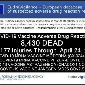 Ευρώπη: 8.430 ΘΑΝΑΤΟΙ και 354.177 παρενέργειες μετά τη λήψη εμβολίων κατά της COVID-19, σύμφωνα με την Ευρωπαϊκή Βάση Δεδομένων Αναφορών Ανεπιθύμητων Αντιδράσεων.