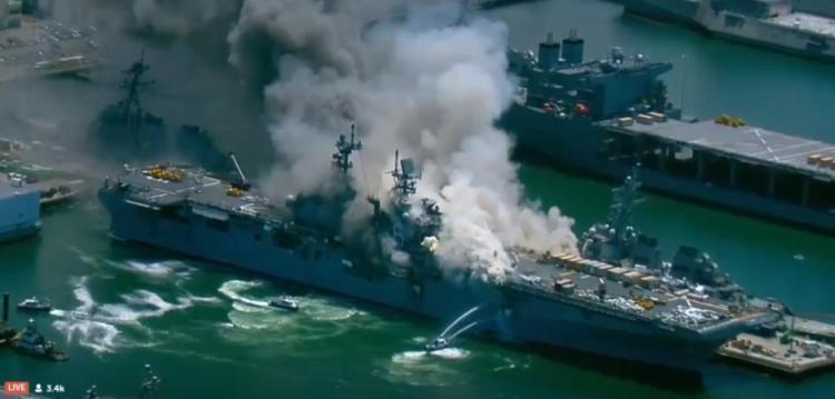 Nέα 11 Σεπτέμβρη για ΗΠΑ: καίγεται το πολεμικό πλοίο USS Bonhomme Richard στη ναυτική βάση San Diego. Πολλοί τραυματίες ίσως και νεκροί….ΒΙΝΤΕΟ