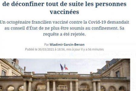 Απόφαση καταπέλτης του Συμβουλίου Επικρατείας στη Γαλλία: απέρριψε αίτημα διπλοεμβολιασμένου να μην υφίσταται ως τέτοιος το lockdown! Η απόφαση δέχεται ότι και οι εμβολιασμένοι μπορεί να είναι φορείς και να μεταδίδουν τον ιό!!Οπότε δεν νομιμοποιούνται προνόμια για εμβολιασμένους!!!