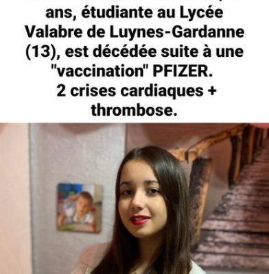16χρονη μαθήτρια Λυκείου πέθανε αφότου εμβολιάστηκε με Pfizer. Υπέστη 2 ανακοπές καρδιάς και θρόμβωση!