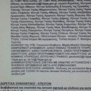 Η επιστολή για το ΕΜΒΟΛΙΟ «J&J» που έφτασε στα «χέρια» του el.gr!!! Σημαντική ΕΙΔΟΠΟΙΗΣΗ για παρενέργειες;;;